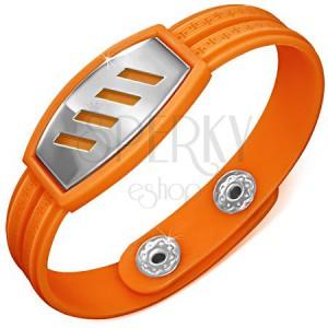 Oranžový pryžový náramek - šikmé výřezy na známce, řecký klíč