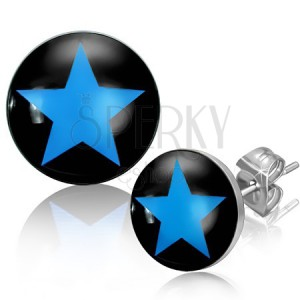Ocelové náušnice s modrou hvězdou v černém kruhu