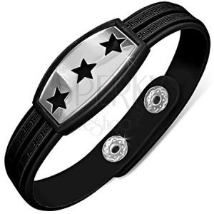Černý náramek z gumy, známka s hvězdami, řecký klíč