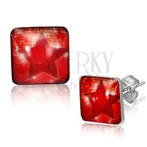 Čtvercové ocelové náušnice - červená hvězda