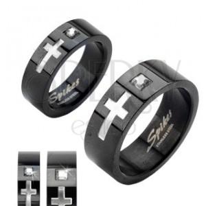 Prsten z černé chirurgické oceli, kříž a veliký zirkon