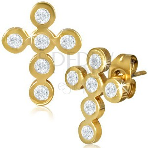 Ocelové náušnice - zlatý kříž z kruhů vykládaný zirkony