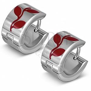 Kruhové náušnice z oceli s motivem červených lístků