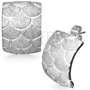 Ocelové náušnice - pískované rybí šupiny