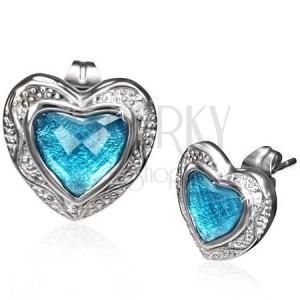 Puzetové náušnice z oceli - modré broušené srdce v lesklém rámu