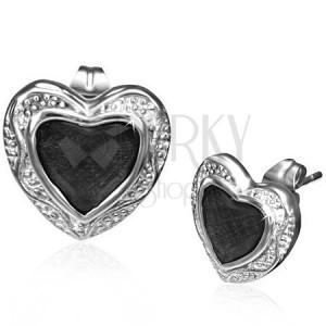 Ocelové náušnice - černý kamínek v kovovém srdci