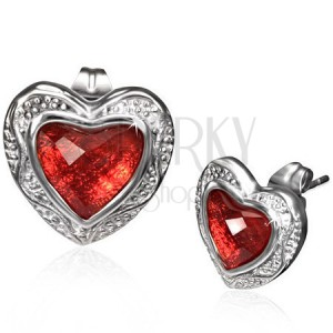 Lesklé náušnice z oceli - červené broušené srdce ve zdobeném rámu