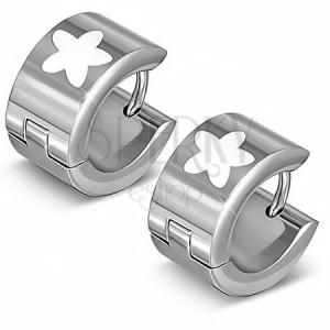 Ocelové náušnice - stříbrné kruhy s bílou hvězdou
