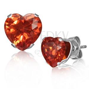 Náušnice z oceli - srdíčkový oranžovočervený kamínek