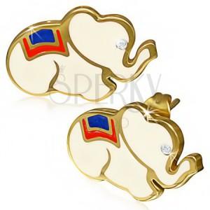 Ocelové náušnice - bílý sloník se zirkonem, zlaté okraje