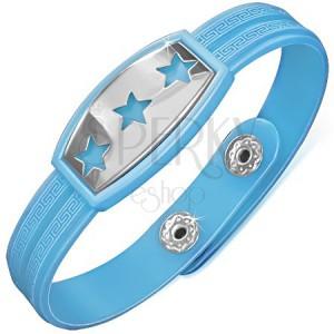 Modrý pryžový náramek s hvězdami na ocelové známce