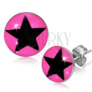 Puzetové náušnice z oceli s hvězdou v růžovém kruhu