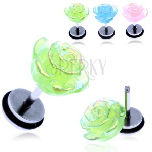 Fake piercing do ucha z oceli - barevná duhová růže