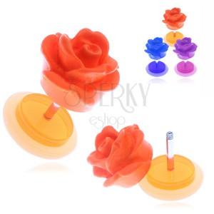 Falešný akrylový piercing do ucha - matná barevná růže