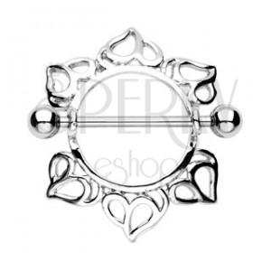 Piercing bradavky - srdce - 2 kusy