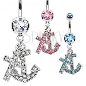 Ocelový piercing do pupíku s přívěskem kotvy a kříže, zirkony