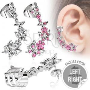 Falešný piercing do ucha z oceli - motýli a květy se zirkony