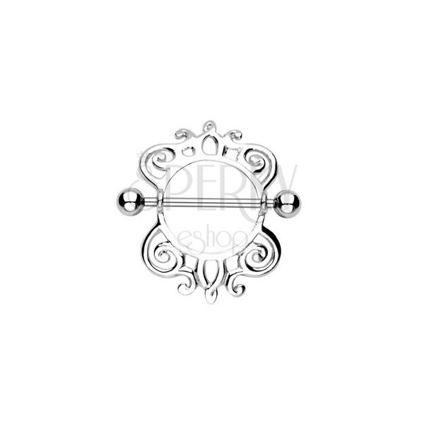 Piercing do bradavky vzor slimáčí spirálka - 2 kusy