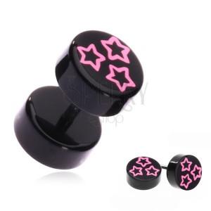 Fake piercing do ucha z akrylu - růžové hvězdy na černém kolečku