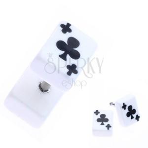 Falešný akrylový plug do ucha s trojlistem na kartě