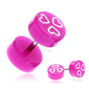 Fake piercing do ucha z akrylu - fialovorůžová kolečka se srdíčky