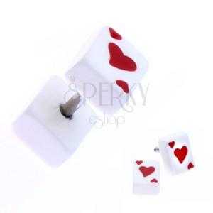 Fake plug z akrylu s hrací kartou - symbol srdce