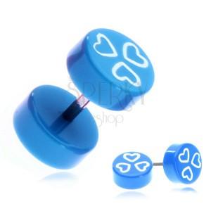Fake piercing do ucha z akrylu - modrá kolečka a srdíčka