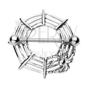 Piercing bradavky pavoučí síť s pavoukem - 2 kusy
