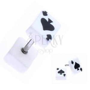 Fake plug z akrylu s hrací kartou - symbol piky