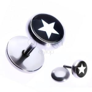 Nepravý ocelový piercing do ucha s hvězdou v černém kruhu