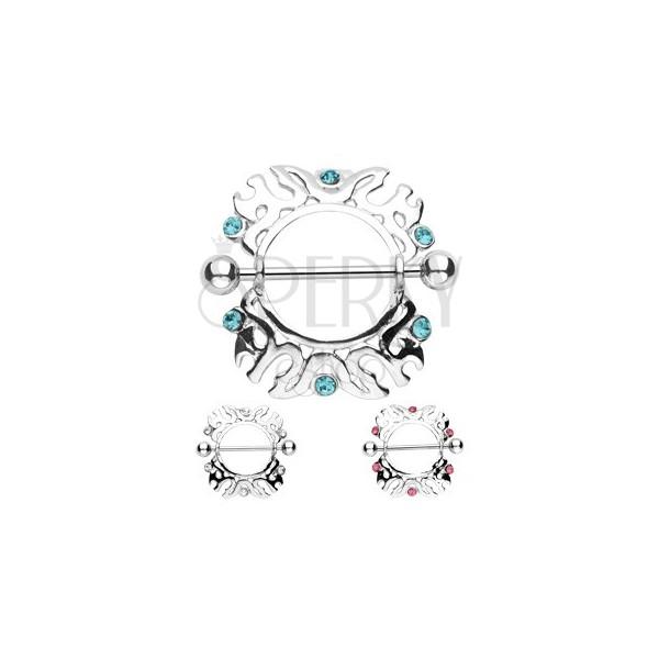Piercing do bradavky - ornamenty se zirkony - 2 kusy