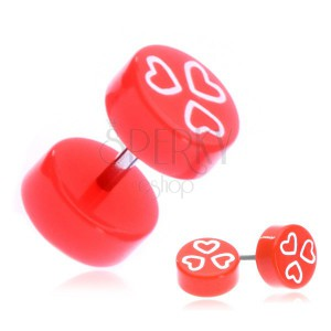 Fake piercing do ucha z akrylu - oranžová kolečka a srdce