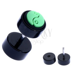 Kruhový akrylový fake plug se zeleným jin-jang symbolem