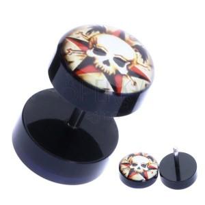 Falešný plug s akrylovými válečky - lebka s hnáty a hvězdou