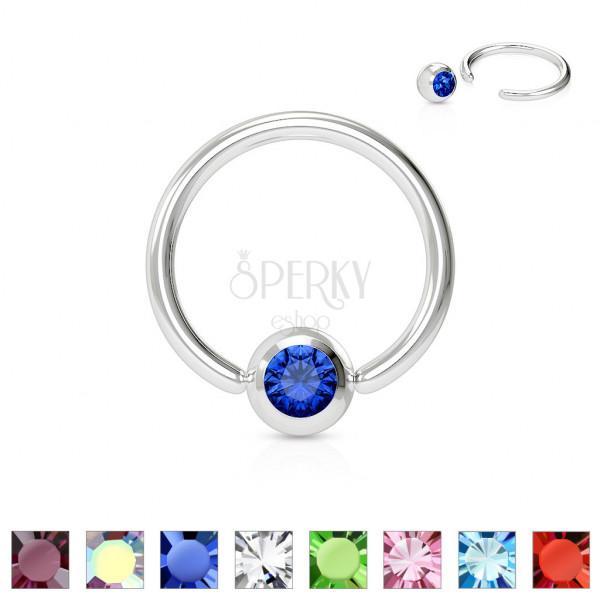 Piercing z chirurgické oceli - kroužek s barevným krystalkem v kulaté objímce