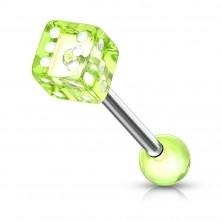 Piercing do jazyka z oceli - hrací kostka s tečkami bílé barvy