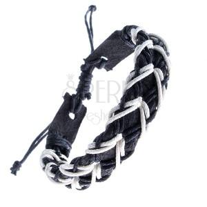 Černý kožený náramek - dírkovaný pás, černo-bílé šňůrky do kříže