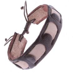 Náramek z kůže - pás proplétaný světlehnědým pruhem Z11.15