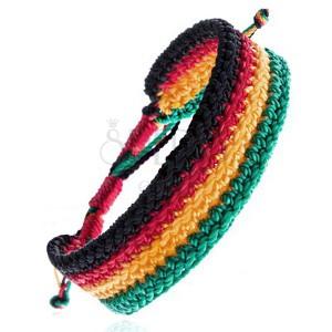 Vícebarevný pletený náramek - rastafariánský motiv