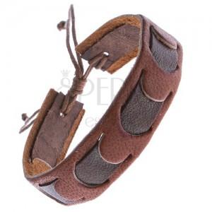 Karamelový kožený náramek s tmavým pruhem
