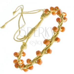 Žlutý náramek přátelství - lesklé oranžové korálky