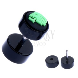 Akrylový fake plug do ucha - zelená lebka na kolečku