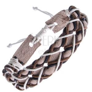 Béžový kožený náramek - čtyřbarevné šňůrky do kříže