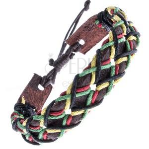 Tmavohnědý kožený náramek - dírkovaný pás, šňůrky, vzor X