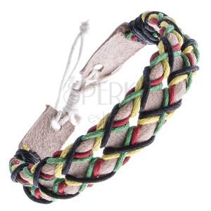 Náramek z kůže - béžový pás a čtyři barevné šňůrky v mřížce