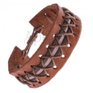 Kožený náramek - karamelovo hnědý, ozdobný pruh, křížené šňůrky