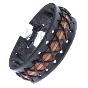 Černý kožený náramek - tři barevné pruhy a překřížené šňůrky