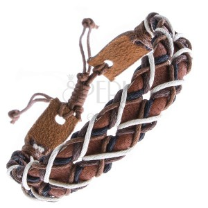 Náramek z kůže - karamelový pás s dírkami a šňůrkami
