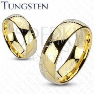 Prsten z wolframu zlaté barvy, motiv Pána prstenů