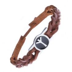 Pletený náramek z kůže, kovová známka, runy, Algiz Z14.20